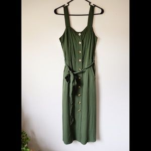 A New Day Button Front Green Midi Dress